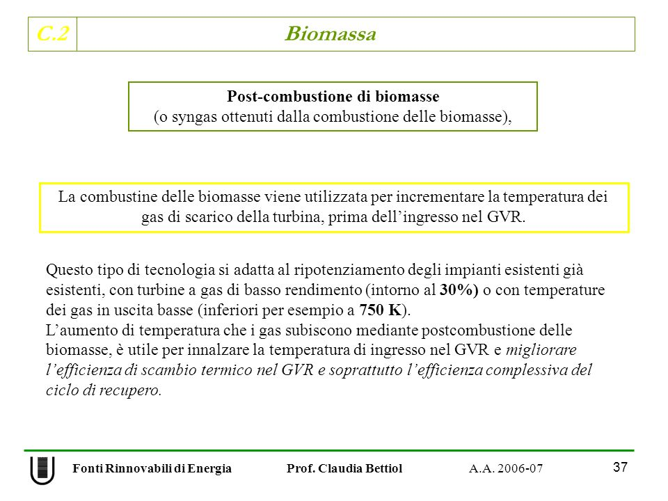 Post-combustione di biomasse