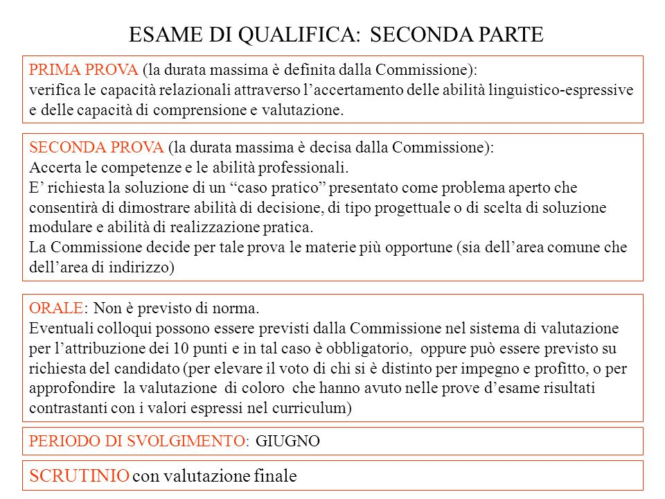 ESAME DI QUALIFICA: SECONDA PARTE