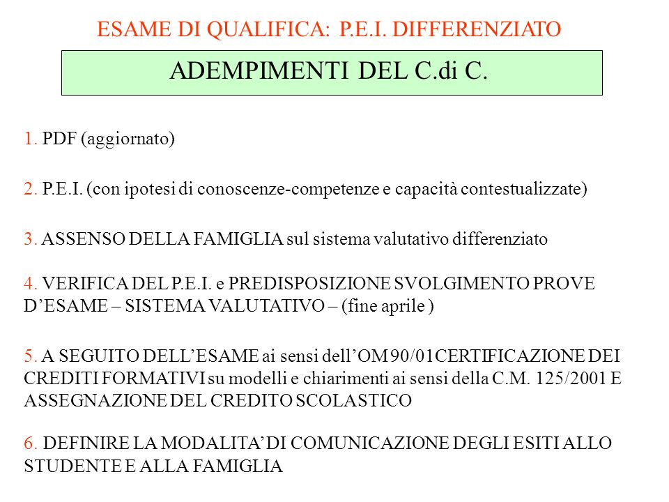 ESAME DI QUALIFICA: P.E.I. DIFFERENZIATO