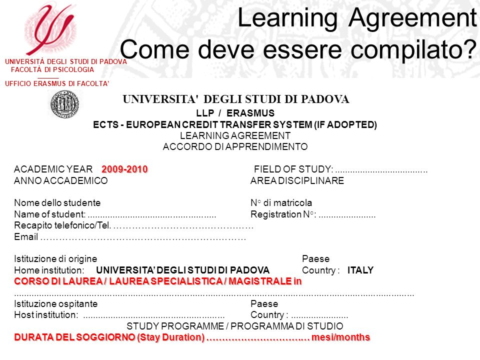 Learning Agreement Come deve essere compilato