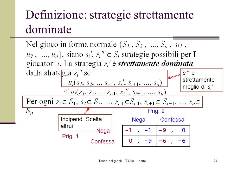 Definizione: strategie strettamente dominate