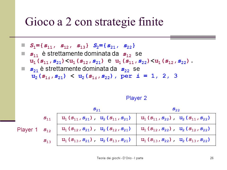 Gioco a 2 con strategie finite