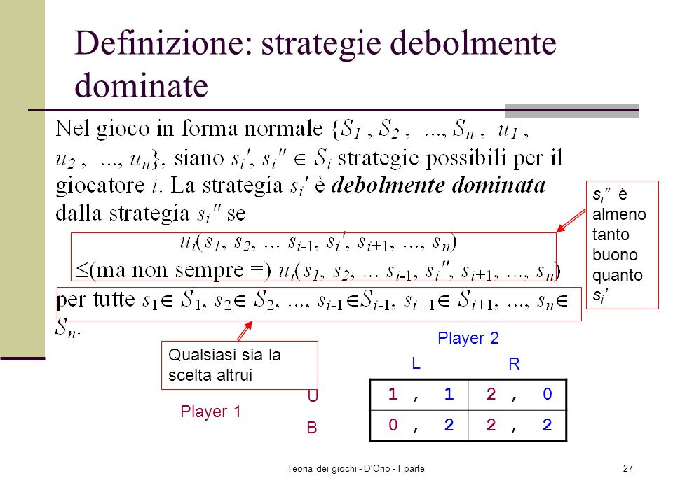 Definizione: strategie debolmente dominate