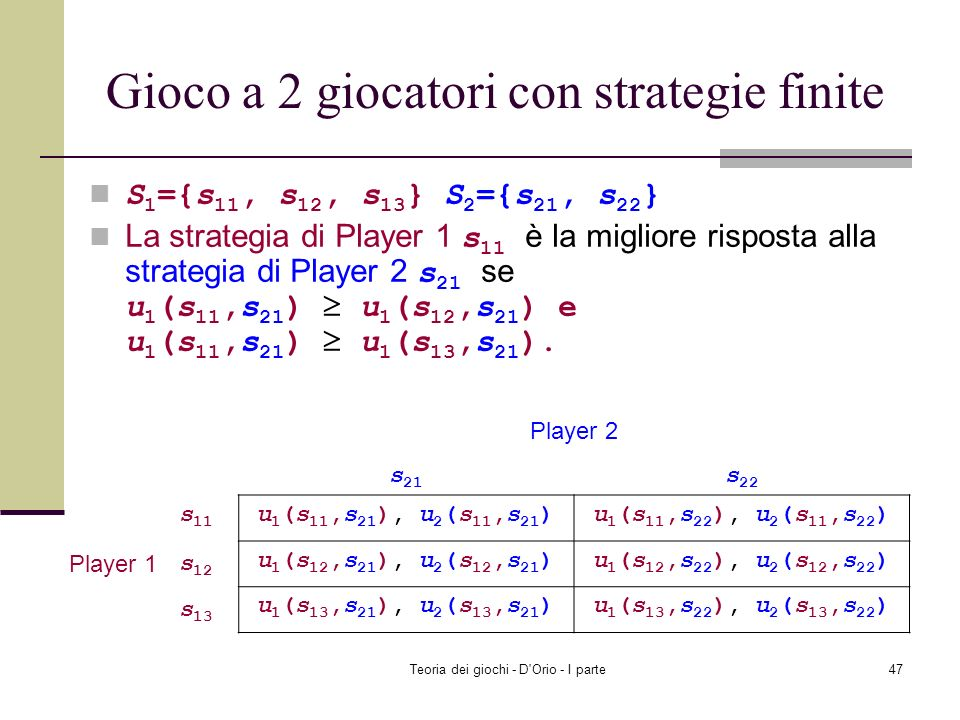 Gioco a 2 giocatori con strategie finite