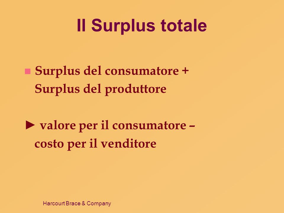Il Surplus totale Surplus del consumatore + Surplus del produttore