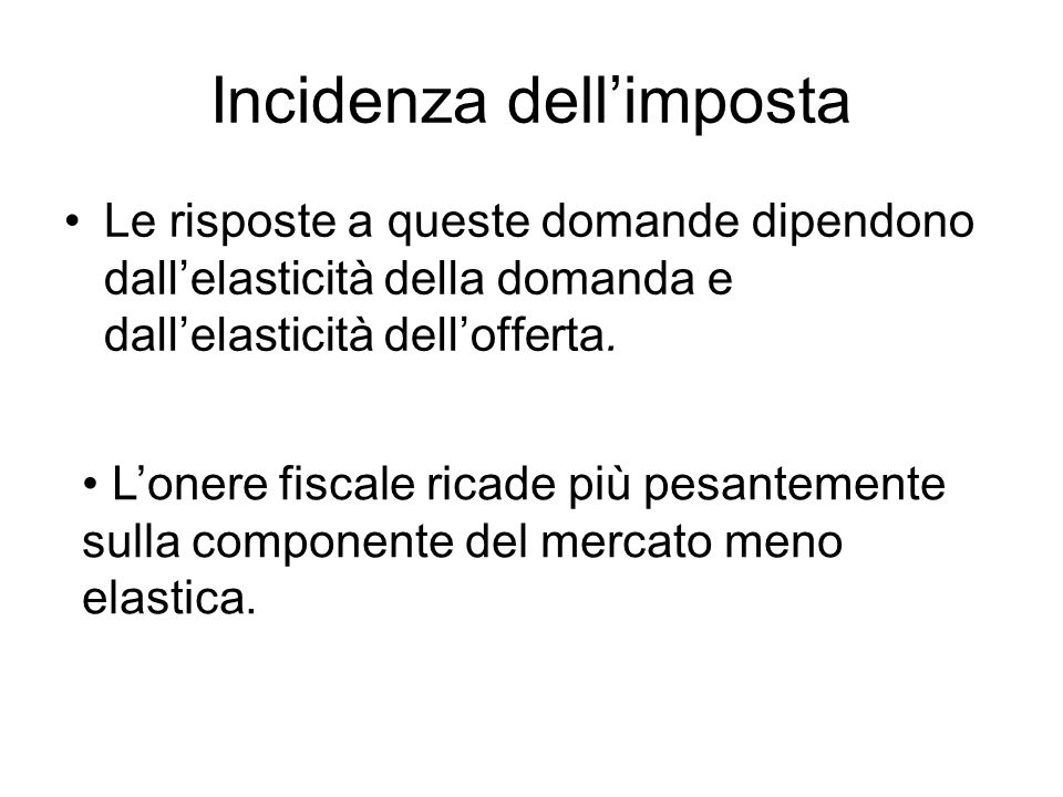 Incidenza dell'imposta