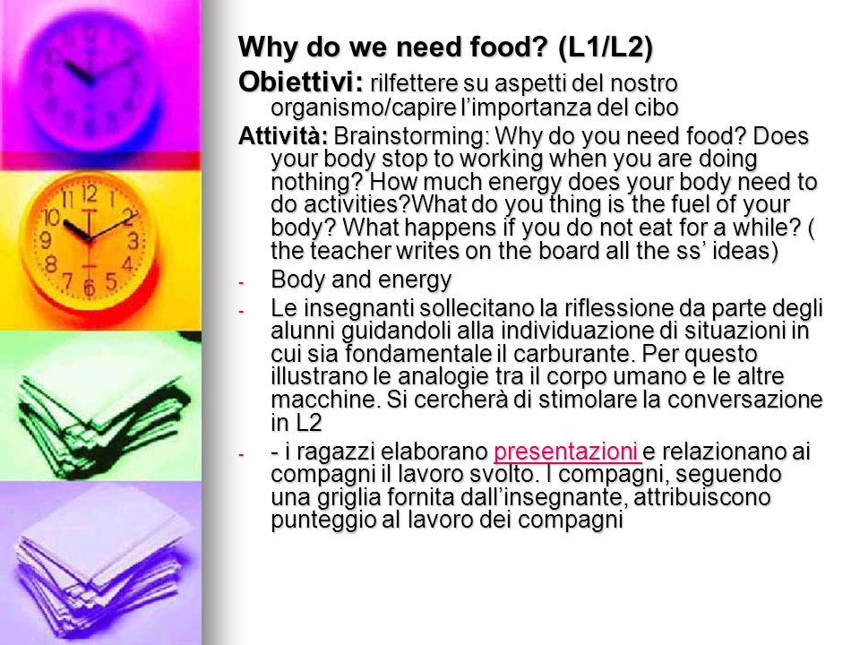 Why do we need food (L1/L2)
