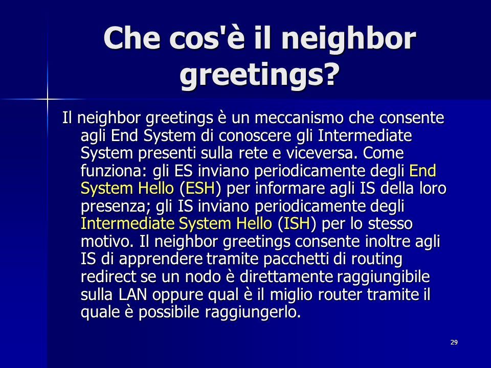 Che cos è il neighbor greetings