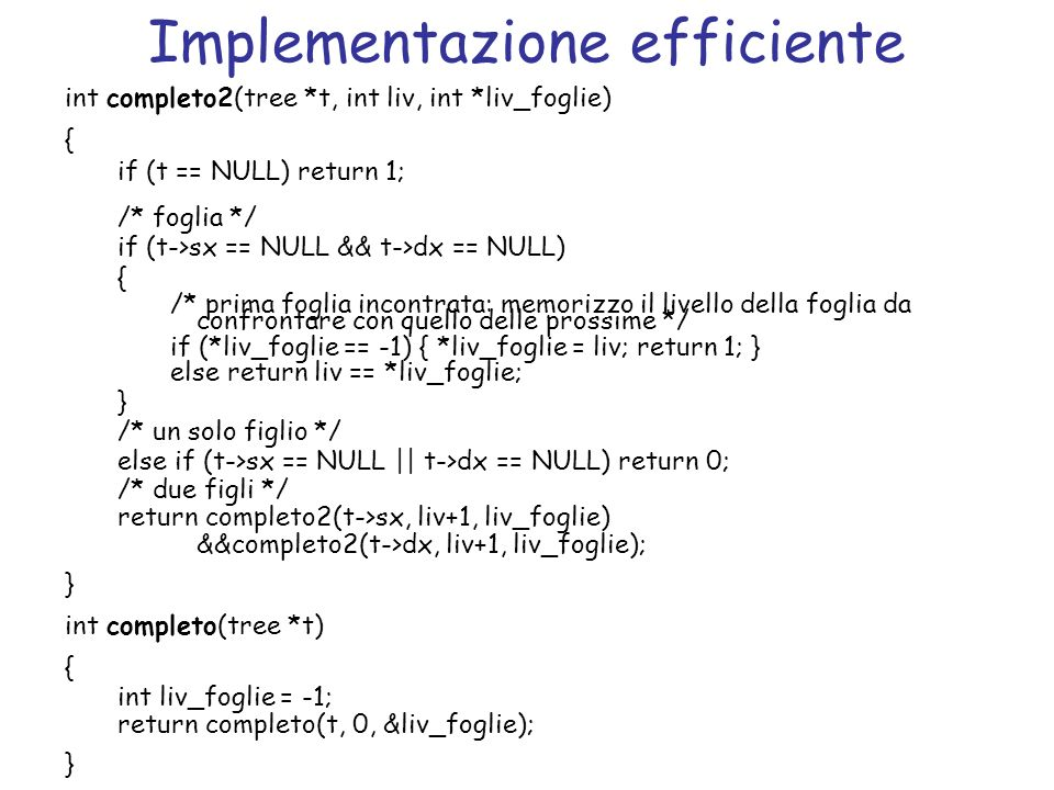 Implementazione efficiente
