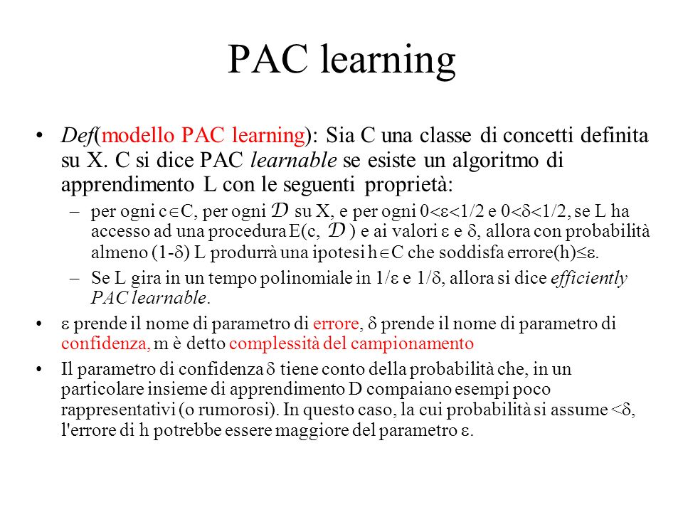 PAC learning