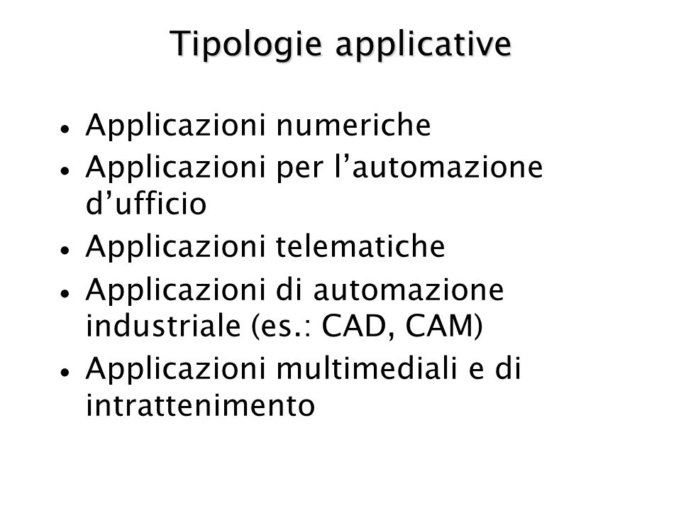 Tipologie applicative
