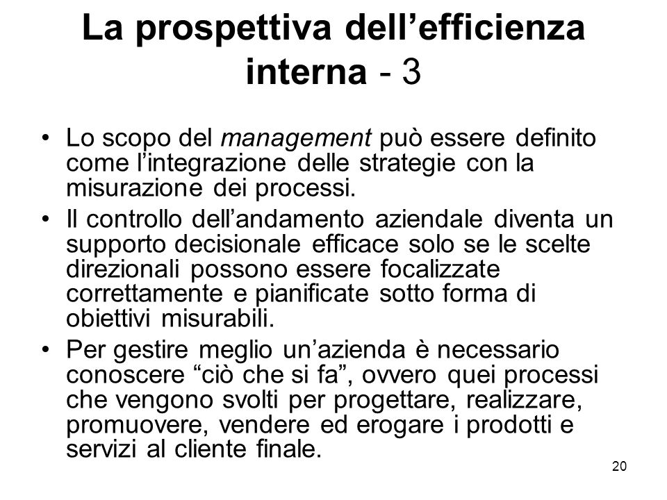 La prospettiva dell'efficienza interna - 3