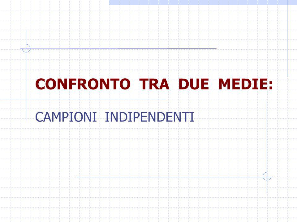 CONFRONTO TRA DUE MEDIE: