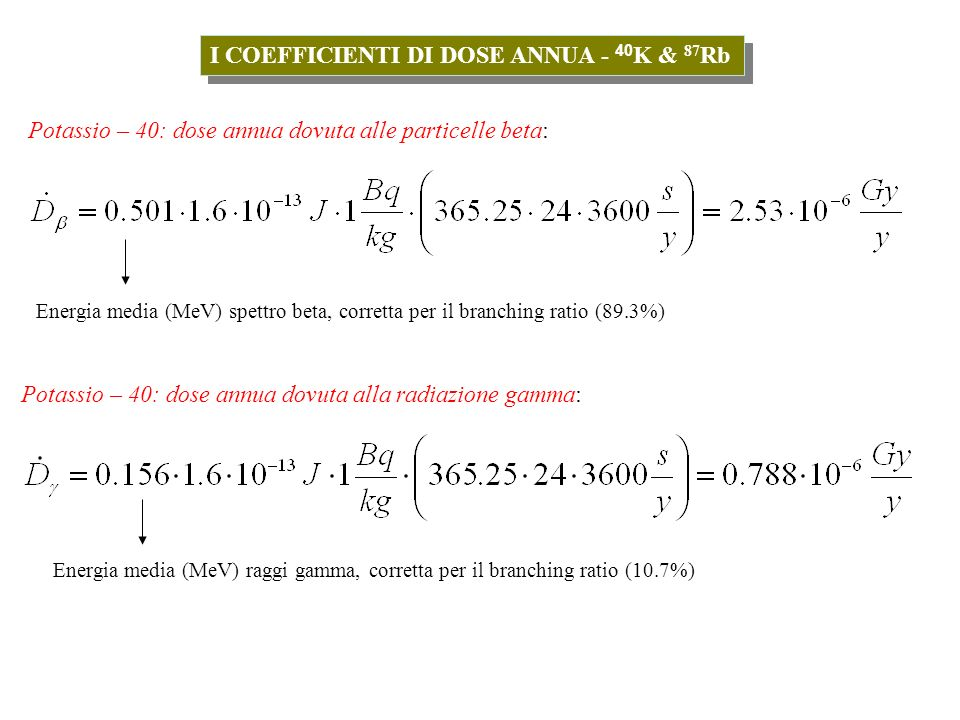 I COEFFICIENTI DI DOSE ANNUA - 40K & 87Rb