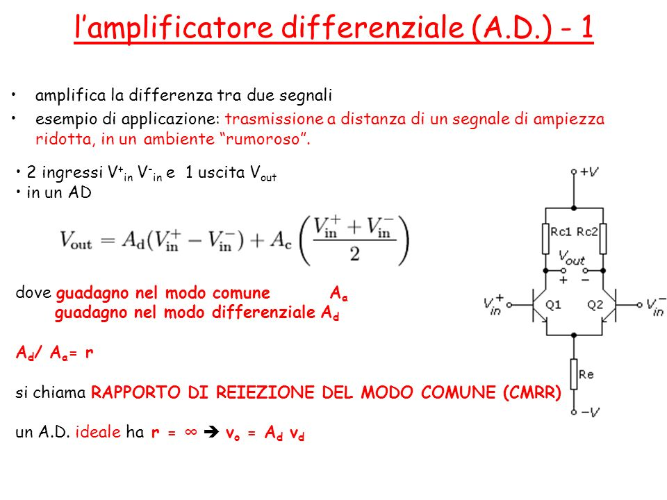 l'amplificatore differenziale (A.D.) - 1