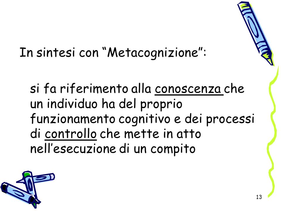 In sintesi con Metacognizione :