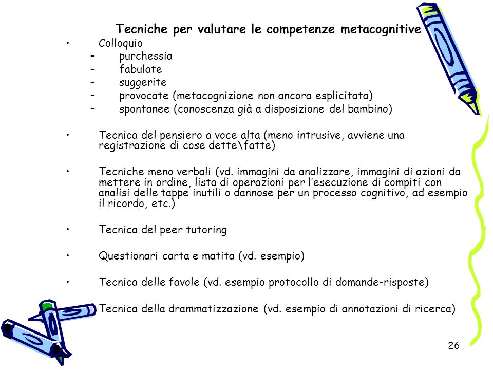 Tecniche per valutare le competenze metacognitive