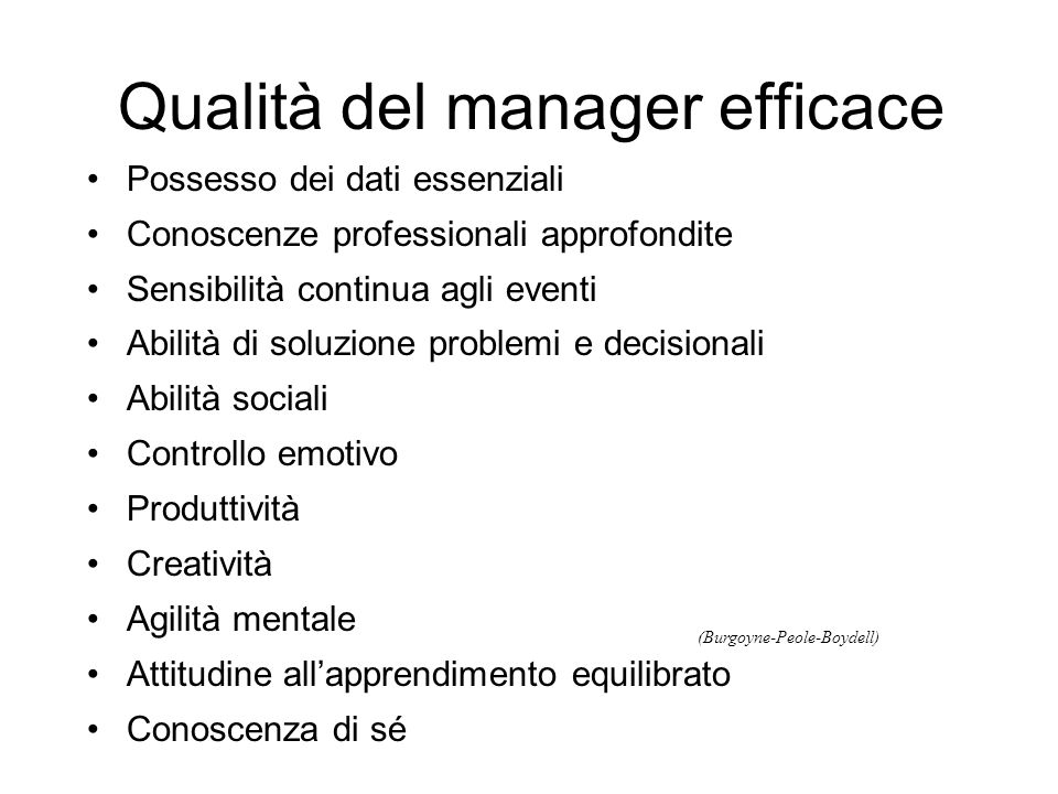 Qualità del manager efficace
