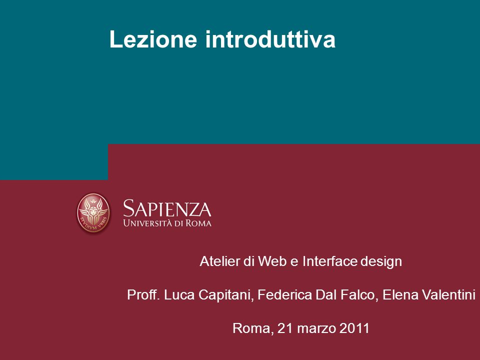 Lezione introduttiva Atelier di Web e Interface design