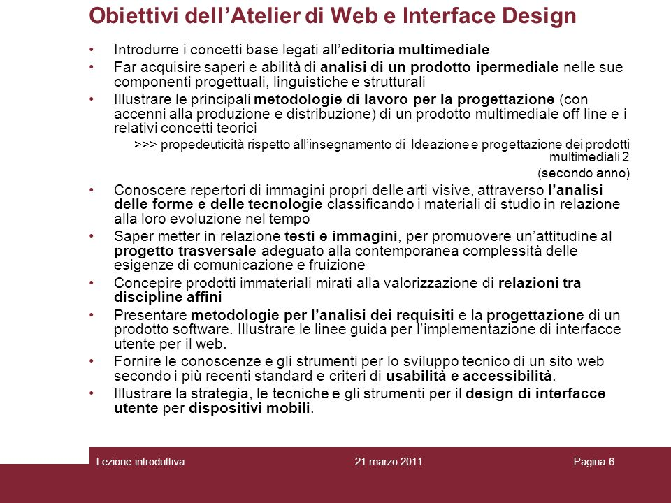 Obiettivi dell'Atelier di Web e Interface Design