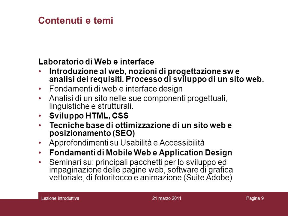 Contenuti e temi Laboratorio di Web e interface
