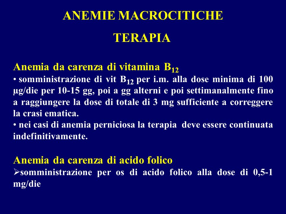 ANEMIE MACROCITICHE TERAPIA