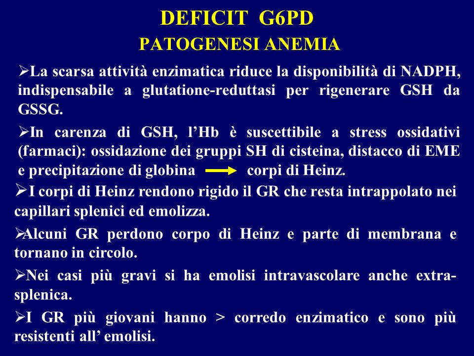 DEFICIT G6PD PATOGENESI ANEMIA