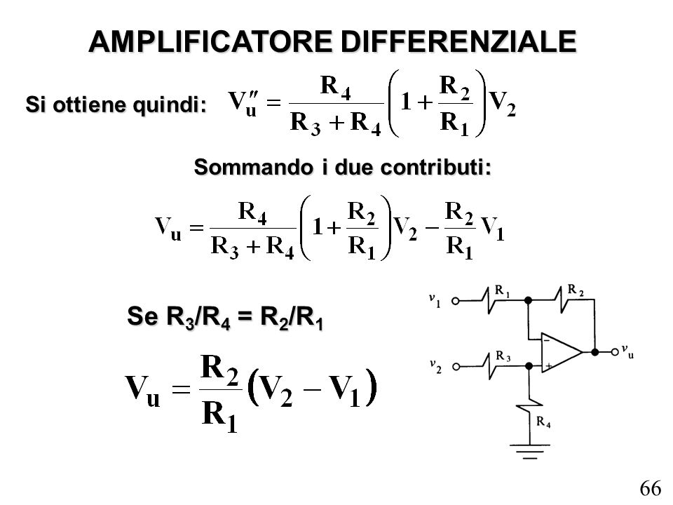 AMPLIFICATORE DIFFERENZIALE Sommando i due contributi: