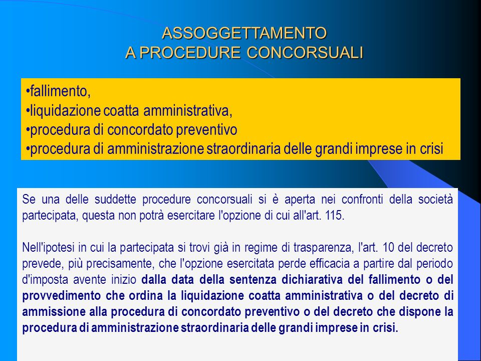 A PROCEDURE CONCORSUALI