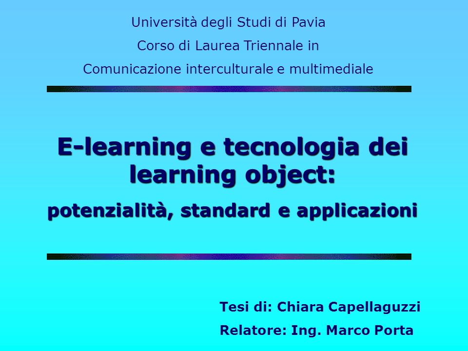 E-learning e tecnologia dei learning object: