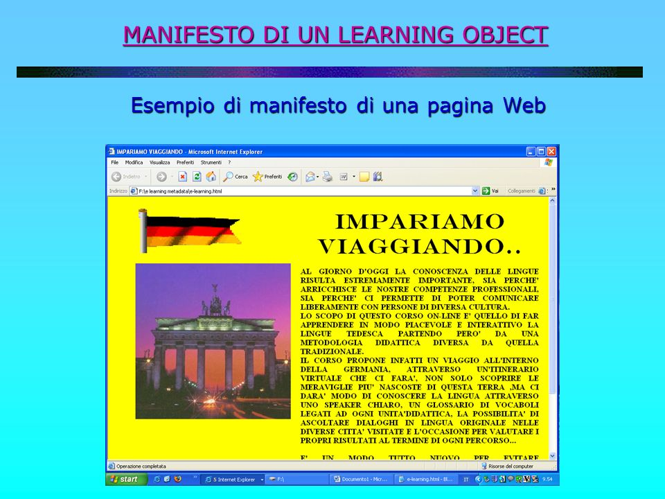 MANIFESTO DI UN LEARNING OBJECT