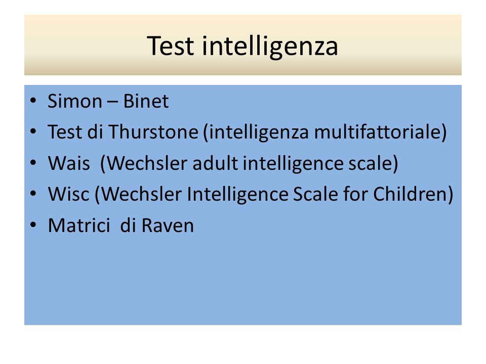 Test intelligenza Simon – Binet