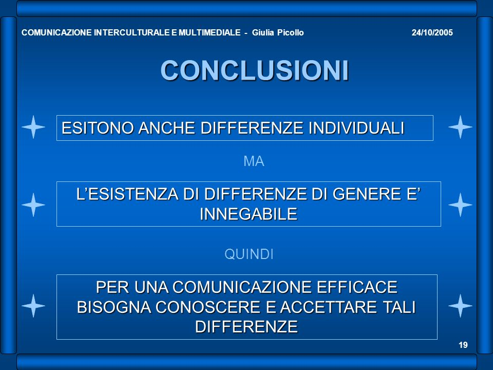 L'ESISTENZA DI DIFFERENZE DI GENERE E' INNEGABILE