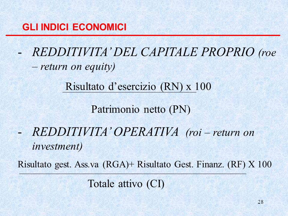REDDITIVITA' DEL CAPITALE PROPRIO (roe – return on equity)