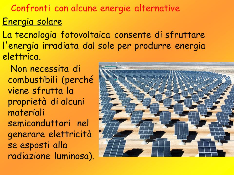 Confronti con alcune energie alternative