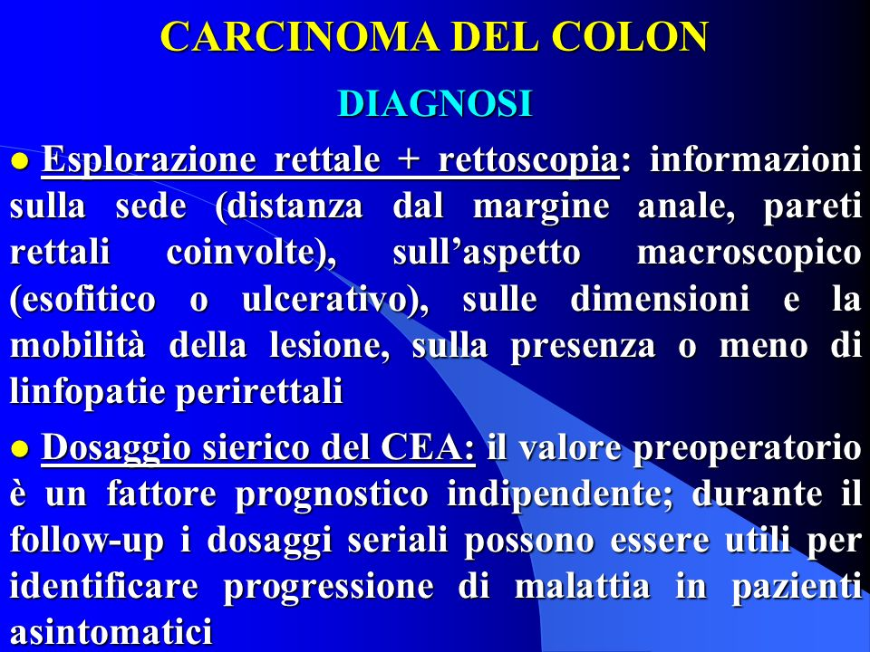 CARCINOMA DEL COLON DIAGNOSI