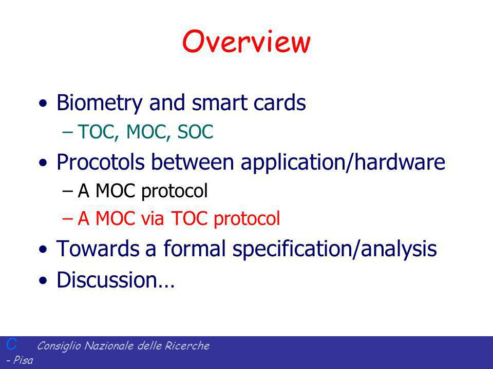 Overview Biometry and smart cards