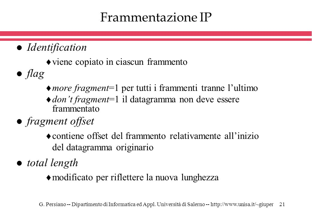 Frammentazione IP Identification flag fragment offset total length