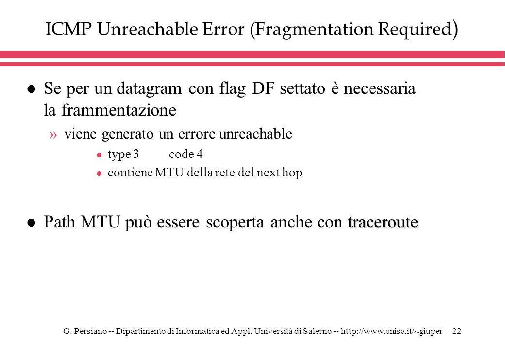 ICMP Unreachable Error (Fragmentation Required)