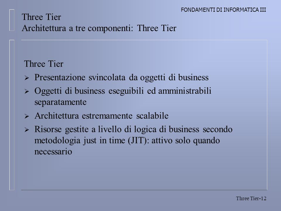 Three Tier Architettura a tre componenti: Three Tier