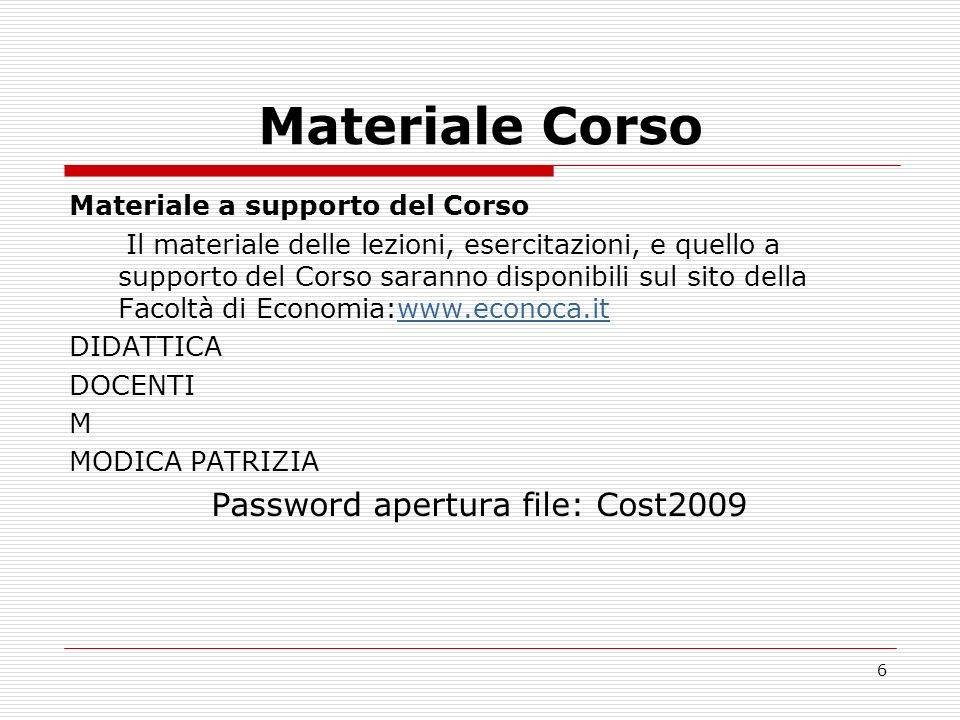 Password apertura file: Cost2009