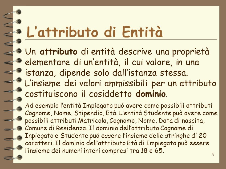 L'attributo di Entità Un attributo di entità descrive una proprietà