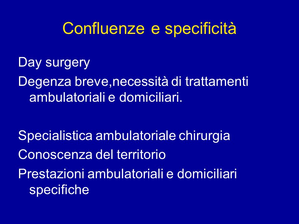 Confluenze e specificità