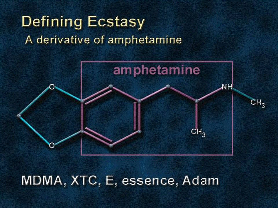 Ecstasy is a derivative of amphetamine (shown in purple on the slide)