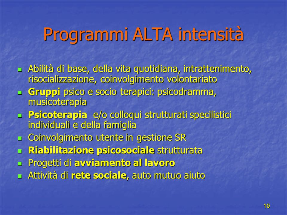 Programmi ALTA intensità