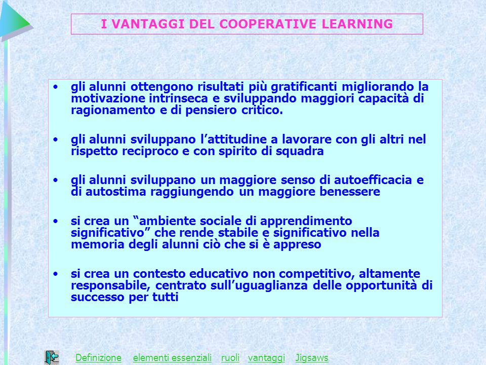 I VANTAGGI DEL COOPERATIVE LEARNING