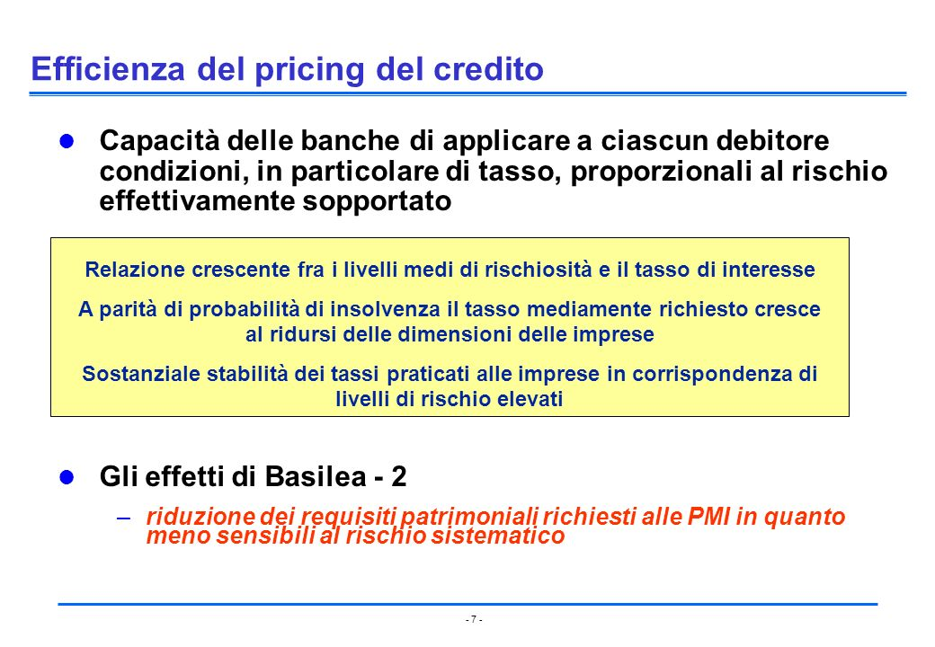 Efficienza del pricing del credito
