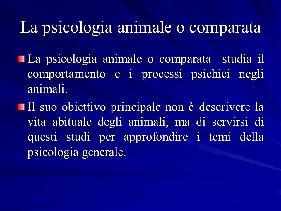 La psicologia animale o comparata