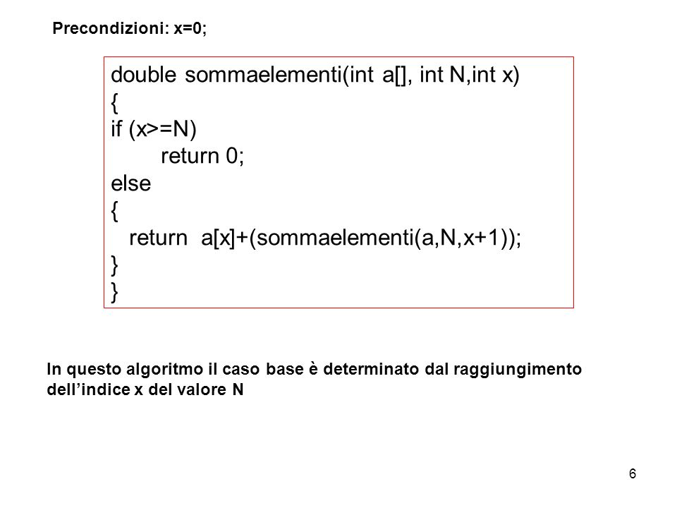 double sommaelementi(int a[], int N,int x) { if (x>=N) return 0;