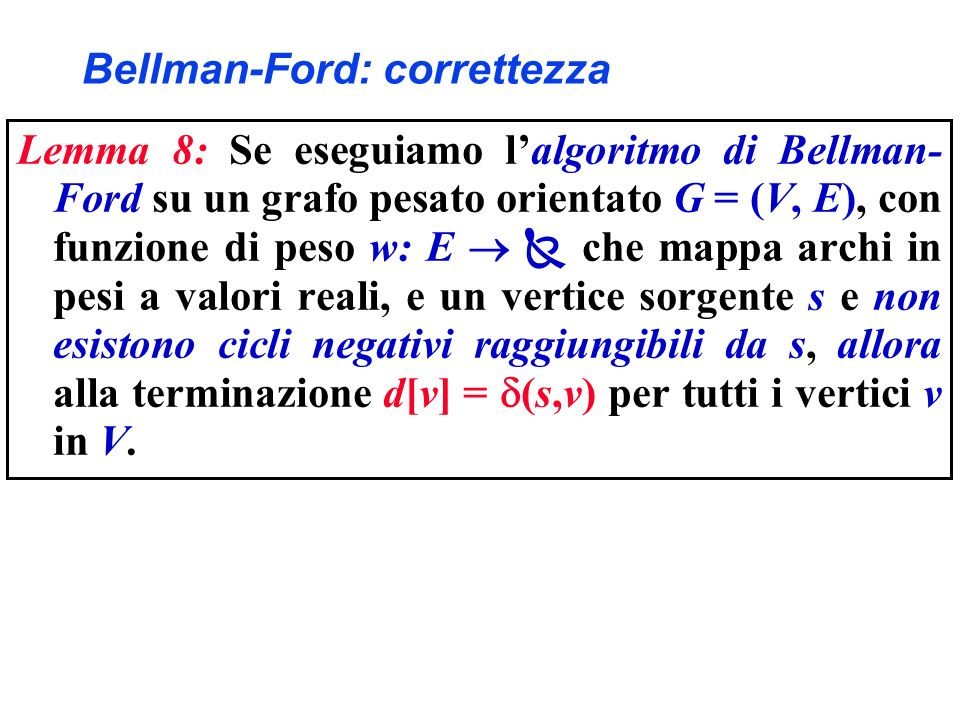 Bellman-Ford: correttezza